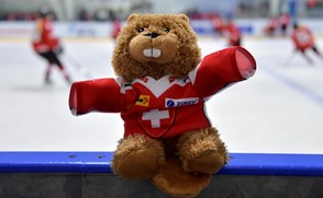 DMITROV, RUSSIA - JANUARY 7: A teddy bear wear a Switzerland jersey sits on top of the dasherboard prior to Switzerland vs Finland preliminary round action at the 2018 IIHF Ice Hockey U18 Women's World Championship. (Photo by Steve Kingsman/HHOF-IIHF Images)